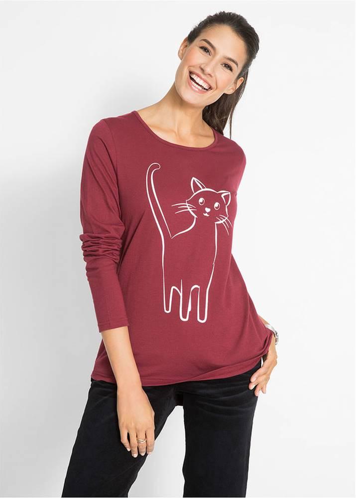 bonprix Bavlnené tričko s potlačou mačky, dlhý rukáv
