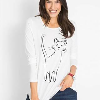 Bavlnené tričko s potlačou mačky, dlhý rukáv