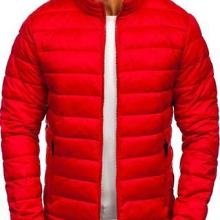 Červená pánska prešívaná prechodná bunda
